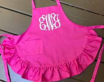 Girls Pink Ruffle Apron with Monogram