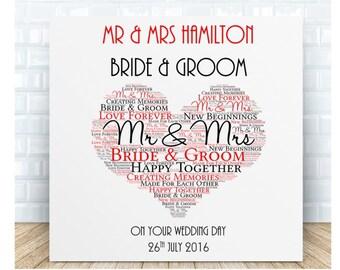 Wedding Day Ceramic  Plaque. Bride & Groom. Personalised