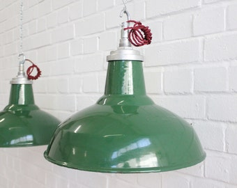 Vintage Industrial Green Enamel Pendant Lights By Thorlux 6 Available