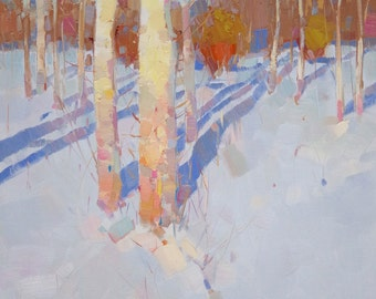 Birches Trees, Landscape Original oil Painting on Canvas Handmade painting, 20 x 16 in, One of a kind