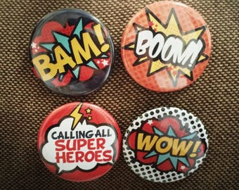 """1.4"""" Super Hero Button pins"""