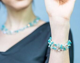 Blue Crochet  bracelet, Swarovski bracelet, Easter gift for her, Blue Swarovski bracelet,  gift for wife, gift for girlfriend,gift for women