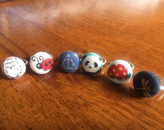 Fabric button kids rings/Owl, panda, ladybird, Harry Potter, turtle and dragonfly