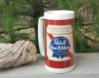 Pabst Blue Ribbon PBR Vintage Thermo-Serv Plastic Beer Mug