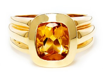 Estate Citrine Solitaire Ring Bezel Set in 14kt Yellow Gold 2CT November Birthstone