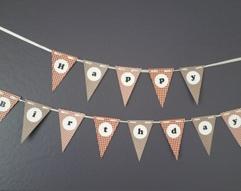 Happy Birthday Bunting Banner - rust red, grey - cardstock - with satin ribbon