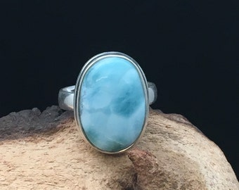 Larimar Ring, Atlantis Stone Ring,Sterling Silver Ring, Solitaire Ring, Rings Under 125 size 7