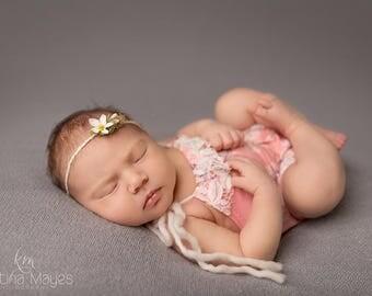 "Newborn Girl Romper- ""April"" peachy pink floral newborn romper with headband. Newborn girl photo outfit, newborn girl photo prop, Spring"