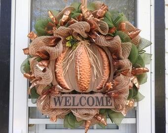 Fall Welcome Pumpkin in Copper Deco Mesh