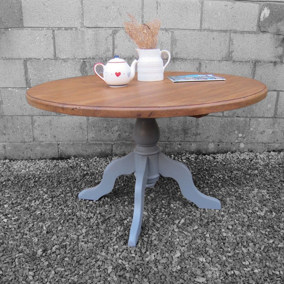 Farmhouse Dining Table Pedestal Round Grey Painted Rusic Pine