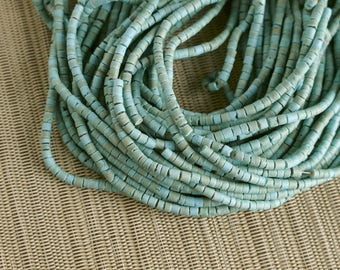 3-4mm Baby Blue Coconut Shell Heishi Beads - Dyed and Waxed - 23 inch strand