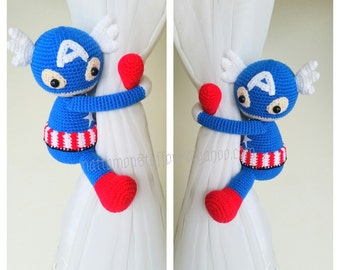 A pair of Captain America curtain tie back,  Nursery tie backs.  MADE TO ORDER***