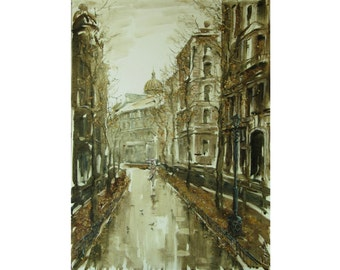 Autumn rain - Petersburg elegies - Original oil painting on paper