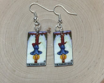 The Hanged Man Tarot Card Nickel Free Fishhook Earrings, Tarot Deck, Rider Waite, Universe, Spiritual, Tarot Reader, Gifts for Her