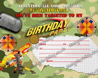 Nerf gun/Nerf war/ Army Birthday Party Invitations instant download -