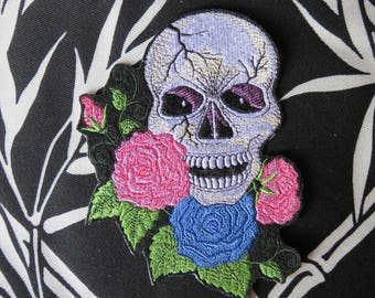 """Roses, Sugar Skull Iron On Patch, Day of the Dead, Dia de los Muertos, Large 5.25"""" x 6.5"""", Biker, Motorcycle, Gothic, Embroidered Patch"""