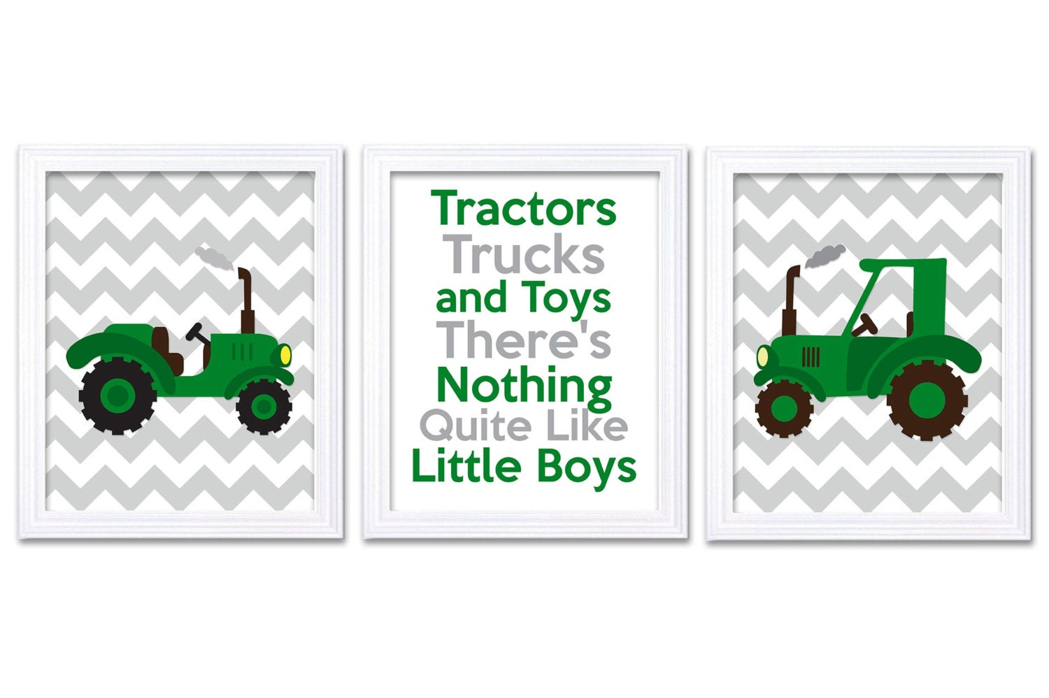 Nursery Art Tractors Trucks and Toys Theres Nothing Quite Like Little Boy Print Set of 3 Green Grey