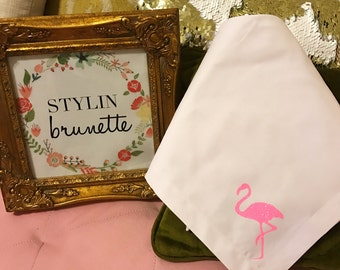Set of 4 Dinner Napkins Flamingo