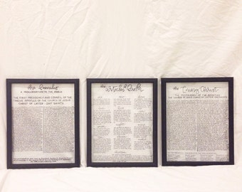 SET OF 3 - LDS Family Proclamation, Living Christ, and Articles of Faith - Handlettered on Glass - 11x14 inch Black Frames
