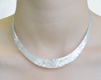 Silver Choker, Statement Choker, Solid Silver, Classic Necklace,  Choker Necklace, Chunky Silver Necklace, Gifts For Wife, Hammered Choker