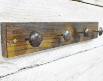 Reclaimed Wood and Nail Coat Hooks