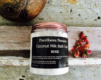 Coconut Milk Bath Soak - Rose & Coconut Bath Milk. Luxurious. Pampering. Natural Skin Care. Vegan. Bath Gift For Her. 200g / 7.1 oz