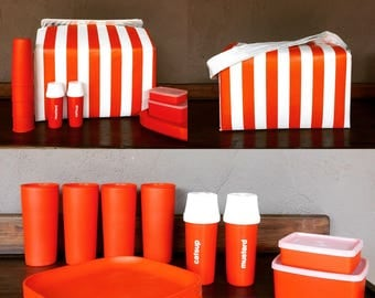Orange and White Stripped Picnic Cooler by Tupperware