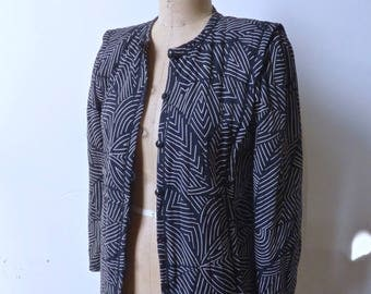 Ungaro Quilted Black and White Pattered Jacket