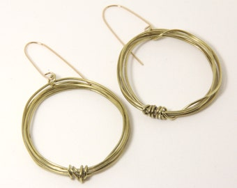 "Earrings, Round Brass Wire Hoop Earrings, 1 3/4"" Diameter, Gold Filled Ear Wires, Artisan Designed and Crafted 