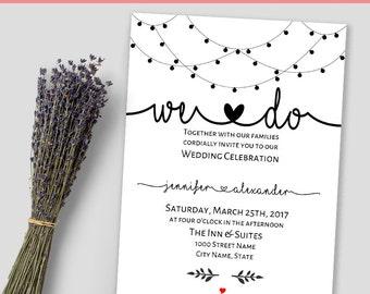 Wedding invitation, We do invitation, Rehearsal dinner, Instant download self editable PDF W121
