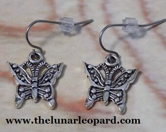 Pewter Butterfly Charm Earrings