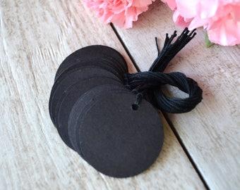 black circle tags with string, black circle price tags, circle hang tags, black circle favor tags, black circle gift tags-  15 tags
