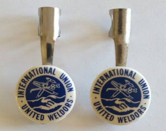 Vintage 1950's International Union United Weldors button pencil clips (2) made by Heinrich Specialty Co, Union Made.