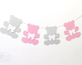 Teddy Bear Garland Pink and Light Grey. Bears & bows. Baby shower banner, party decor, teddy bear's picnic, first birthday. Photo prop.