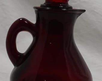 Vintage Ruby Glass Bottle AVON with Strawberry Bath Foam - (Partially Filled) -  Collectible - Great Condition