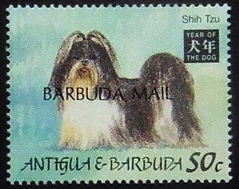 Shi Tzu Dog -Handmade Framed Postage Stamp Art 21130AM