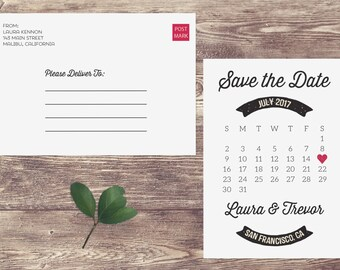 Calendar Non-Photo Save The Date Postcard, Postcard Save the Date, Non-Photo Save the Date, Custom Personalized Engagement Announcement Card