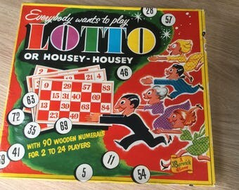 1950's Game of Lotto, with original box, leaflet & wooden discs