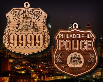 Personalized Wooden Philadelphia PD Badge or Shoulder Patch Hanging Ornament