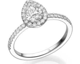 1 1/3 Carat Pear Moissanite Ring, Moissanite Halo Engagement Ring, Moissanite Band, Gemstone Ring, Forever One Moissanite, Charles & Colvard