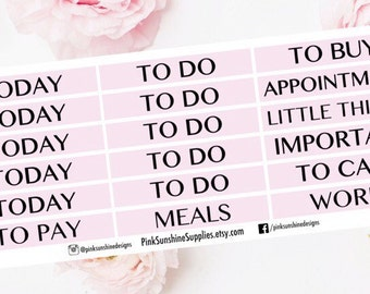 Soft Pink Header Stickers for your Planner To Do, Today, To Buy, Important, Work, Meals