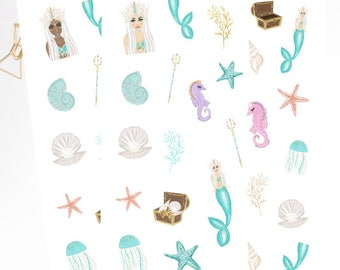 MERMAID SOUL Clipart Stickers for your Planner- Choose Skin Tone