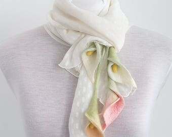 White silk scarf with felted flowers-Chiffon silk-pastel