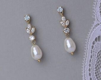 Gold Earrings, Gold Bridal Earrings, Pearl Drop Earrings, Gold Bridal Jewelry, Gold Wedding Earrings, ASHLEY GP