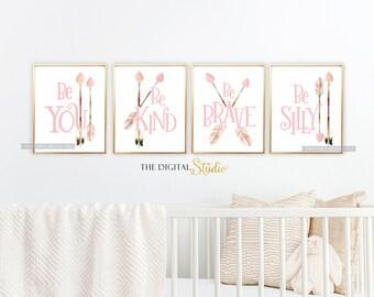 Nursery Bohemian Decor, Baby Girl boho Nursery,  Boho Nursery Decor, Tribal Nursery, Woodland Girl Nursery, Pink Tribal Nursery