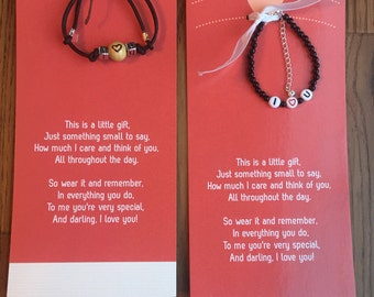 I love you bracelet, valentine bracelet, valentine card, I love you card, I love you, heart bracelet, Valentine's Day