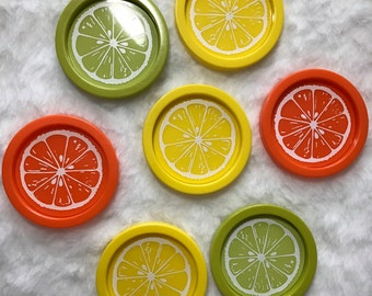 Vintage Set of Lemon Lime and Orange Plastic Coaster Set 7