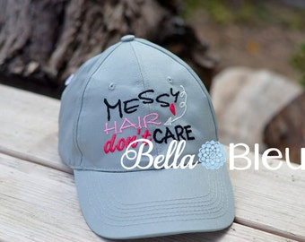 Baseball Hat Cap Embroidery Design, Messy Hair don't Care Machine Embroidery Design, Heart Embroidery design