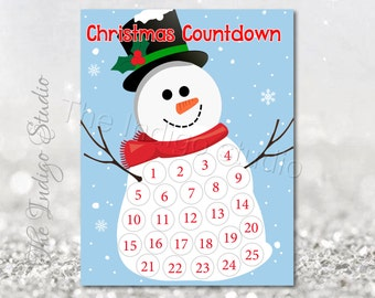 Printable Snowman Countdown to Christmas - Christmas Advent Calendar days till Christmas countdown instant download