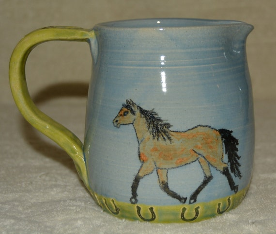 Pitcher, Horse Pitcher, Gravy Pitcher, Creamer, Horses, Horse Shoes, Western, Blue, Lime Green, Ceramic, Stoneware
